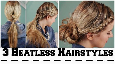 heatless hair styles 3 heatless hairstyles for back to school youtube