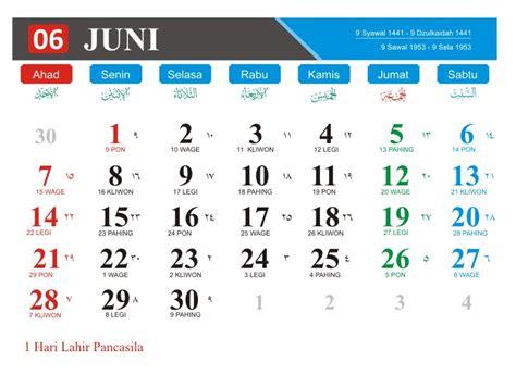 kalender bulan juni   lengkap  hari pasaran jawa hari libur nasional