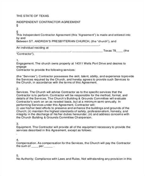independent agreement contract sle independent