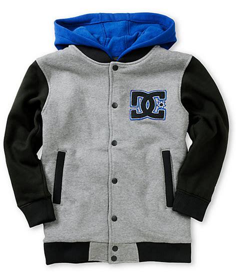 dc boys stax fleece grey hooded varsity jacket zumiez