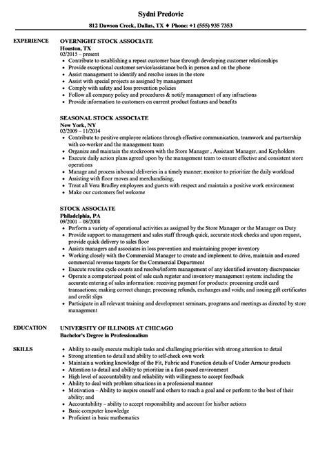 Stock Associate Resume by Stock Associate Resume Sles Velvet