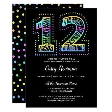 Cool on Black Fun 12th Birthday Party Invitation   Zazzle.com