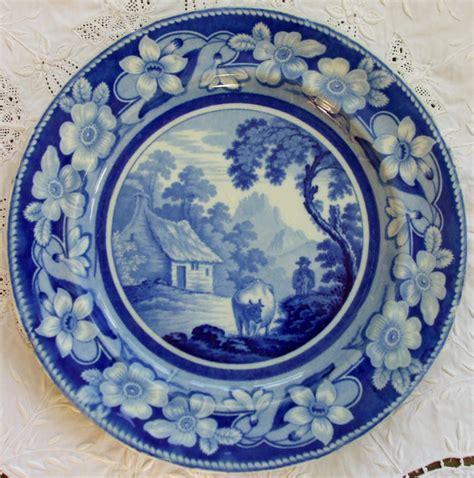 blue pattern pottery antique english georgian blue white transfer quot the cowman