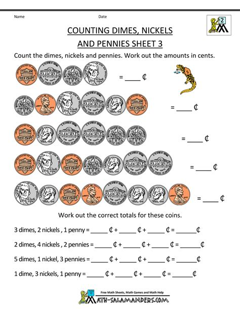 2nd Grade Printable Worksheets by Money Worksheets For 2nd Grade