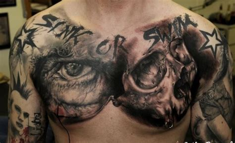 skull chest tattoos for men amazing idea of skull on chest for