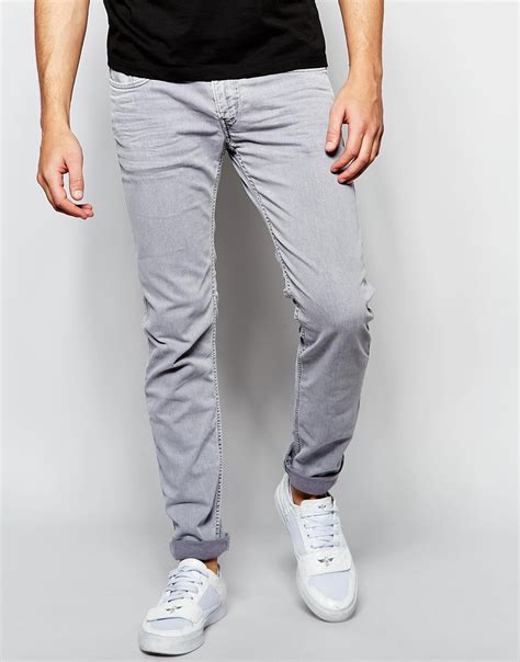 light grey jeans mens lyst replay jeans anbass slim fit stretch light grey