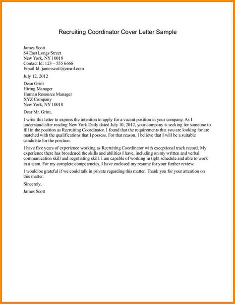 cover letter exles for recruiter position 7 email a recruiter sle cashier resumes