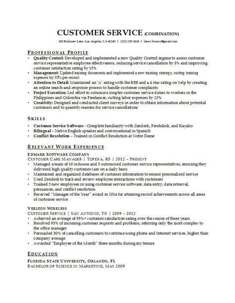 Sample Csr Resume by 31 Free Customer Service Resume Examples Free Template