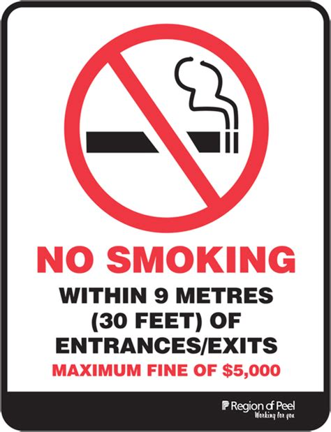 no smoking signs canada facts about secondhand smoke smoke free peel region