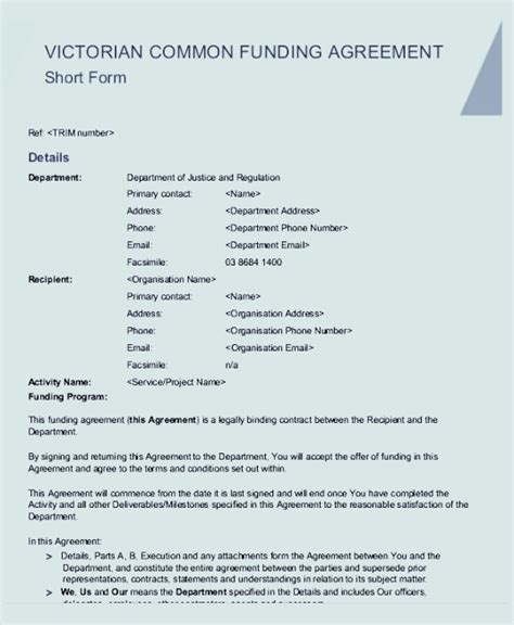 common agreement template common funding agreement template sle templates