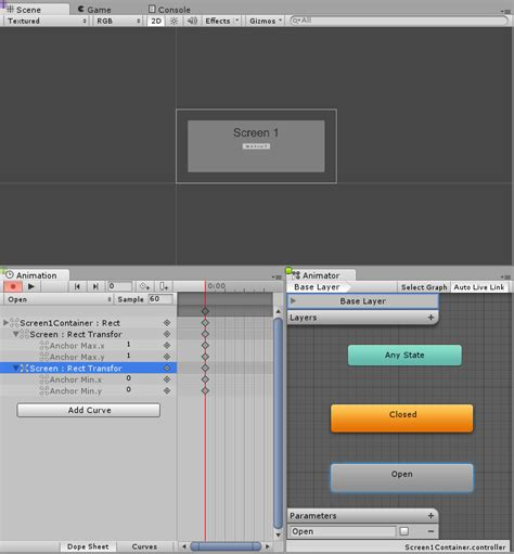 unity gui layout options unity manual creating screen transitions