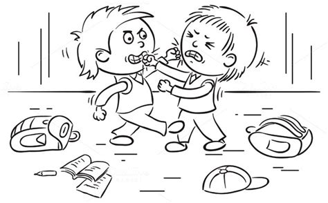 totally non crappy coloring book illustrated with crappy pictures books two schoolboys are fighting illustrations on creative market