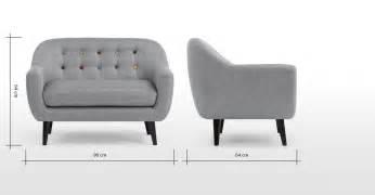 mini ritchie 2 seater sofa pearl grey with rainbow