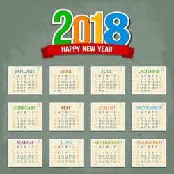 2018 Calendar Template Illustrator 2018 Calendar Template Flat Squares Sectors Decoration