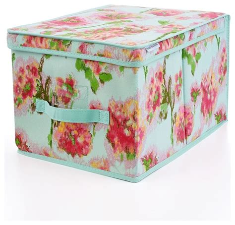 pretty bedroom storage boxes isaac mizrahi ikat floral large storage box contemporary