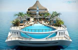 your very own portable tropical island a new super yacht with its own functioning volcano and