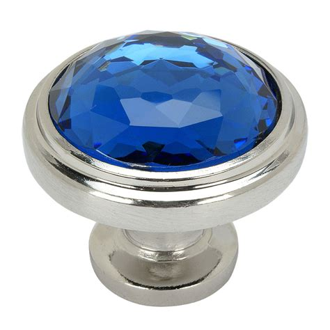 satin nickel blue glass cabinet knob by cosmas