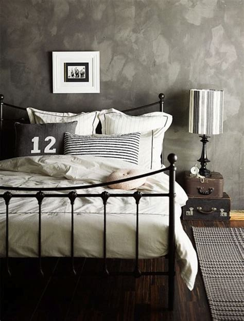 vintage grey bedroom using wrought iron in the bedroom