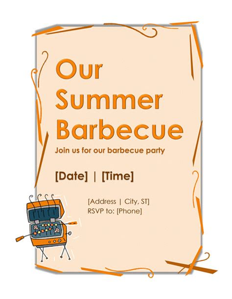 barbecue invitation template bbq invitation template microsoft word templates