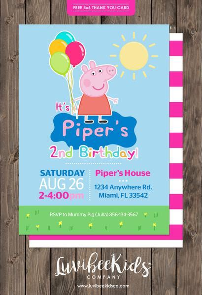 peppa pig thank you card template peppa pig birthday invitation free backside thank you