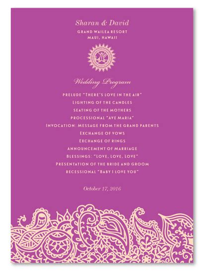 Indian Wedding Programs Bombay Indian Wedding Program Template