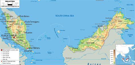 map of malaysia physical map of malaysia ezilon maps