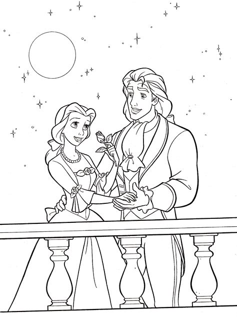 disney belle color coloring pages