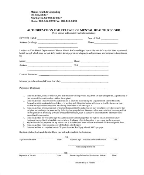 9 Sle Release Of Information Forms Sle Templates Release Of Information Form Template
