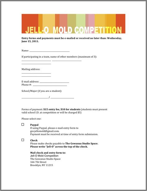 design competition entry form the jell o mold competition