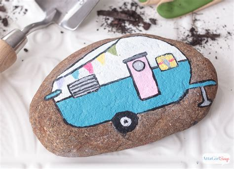Decorate Front Porch by Vintage Camper Painted Rocks Atta Says
