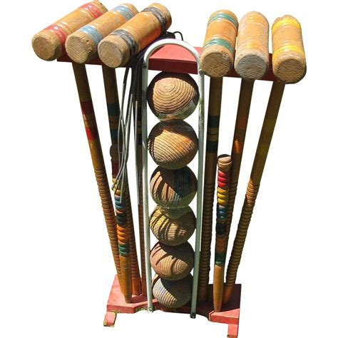 Set Vintage vintage wooden croquet set for 6 with stand from