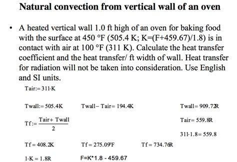 convective heat transfer coefficient of air at room temperature the oven wall in exle 4 7 1 image below is in chegg
