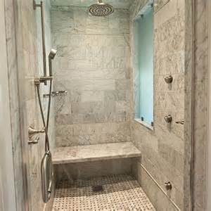 Modern marble shower with seamless glass shower door brushed nickel