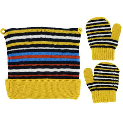 Mitten Stripes Yellow by Abella Boys Hat And Mitten Set Yellow Childrens Outlet