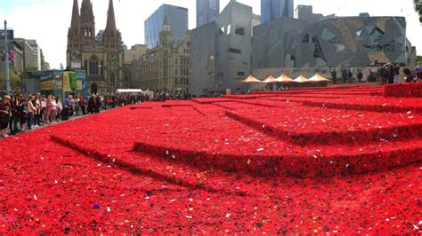 Handmade Melbourne - handmade poppies at federation square abc news