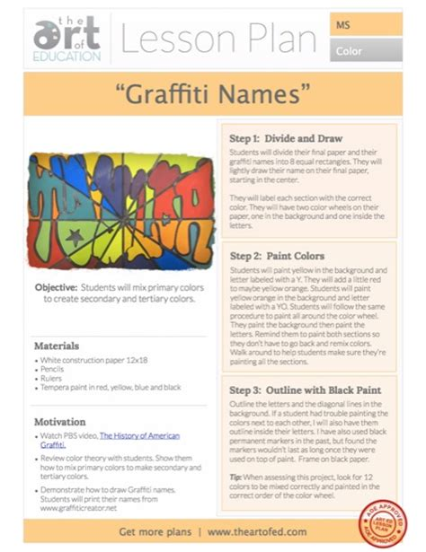 new year lesson plan middle school middle school lesson plan color wheel graffiti names