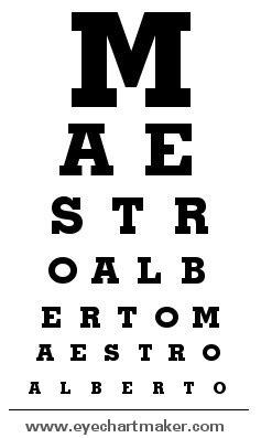 tabella lettere oculista creare un pannello per misurare la vista personalizzato