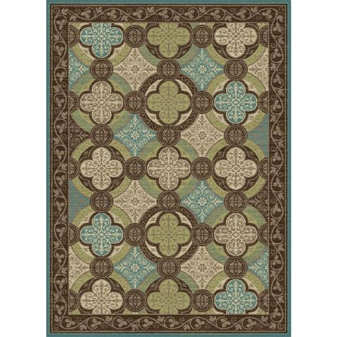 Brown And Aqua Area Rugs Tayse Rugs Brown 7 Ft 10 In X 10 Ft 3 In Transitional Area Rug Cpr1005 8x10 The Home