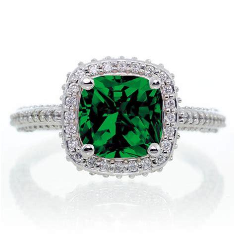 1 5 carat cushion cut designer emerald and halo