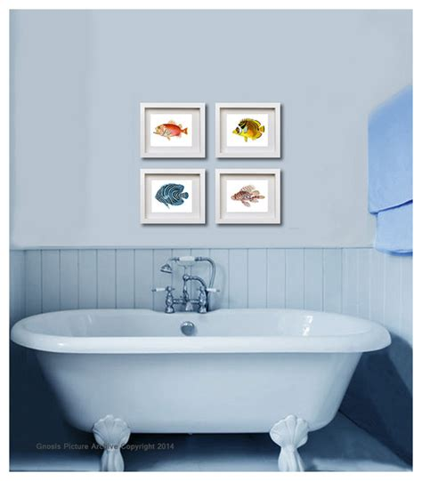8x10 bathroom set of 6 vintage fish bathroom decor wall art prints 8x10