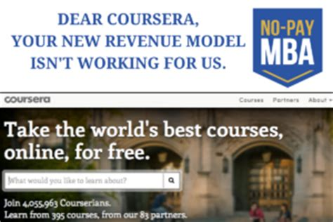 No Debt Mba by An Open Letter To Coursera No Pay Mba