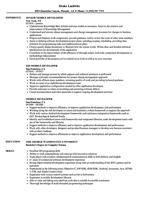 mobile developer resume sles velvet