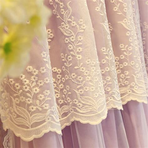 elegant cream beige poly cotton lace girls bedroom curtains elegant curtains double layers purple lace polyester room