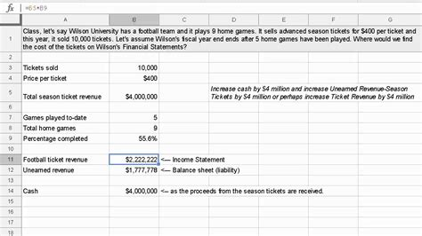 accrual accounting exle revenue earned season tickets