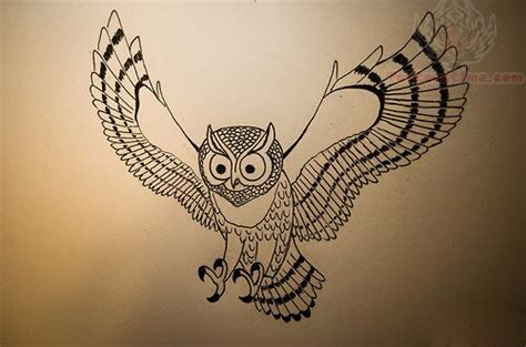 flying owl tattoo designs flying owl outline