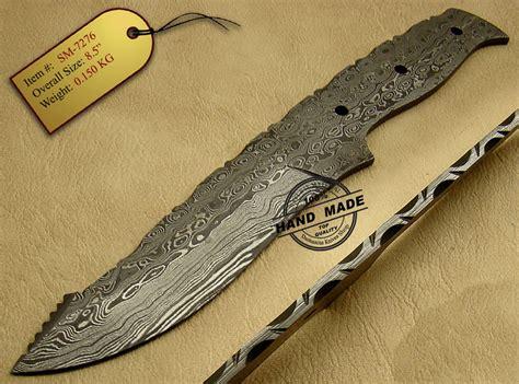 Handmade Knife Blades - blank blade damascus skinner knife custom handmade