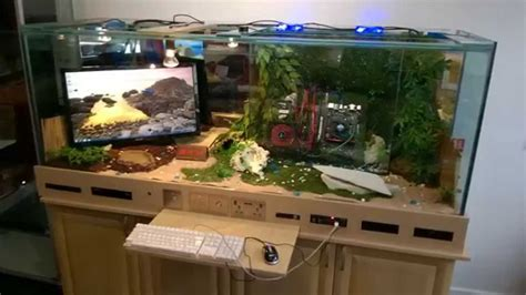 Building A Gaming Desk Gaming Pc Reptile Tank I7 Pc Built Into Desk Gaming Mix Tank Lizard Pc