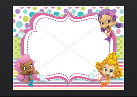 bubble guppies blank invitation birthday thank you note