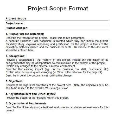 writing a scope of work template project 7 free for word pdf