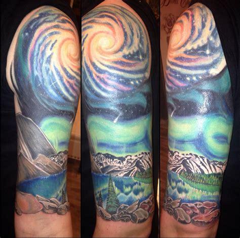 feather tattoo edmonton last session on my first tattoo galaxy mountain half